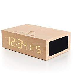 GOgroove BlueSYNC TYM Bluetooth Wireless Stereo Speaker & Wooden Alarm Clock w/ LED Time + Temperature Display for Phones, MP3 Players, Tablets, & More
