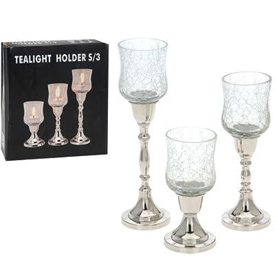 Bbtradesales Tea Light Holders Cracked Glass Set Of 3 from BBTradesales