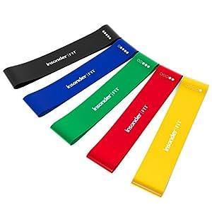 Widerstandsbänder Fitnessband Set - Loop Gummi Fitnessbänder (5) - KOSTENLOSES EBOOK - Gymnastikband Miniband für Crossfit Pilates Fitness Muskelaufbau Yoga und Therapie - Training für Ihren Körper Beinen Hintern