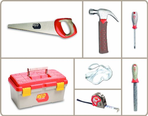 Red Tool Box and 6 Pieces Toolset