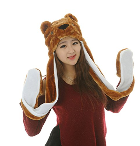 Funnie 21 Novelty Animal HAT Cosplay CAP - Unisex Fit Adult & Children- Soft Warm Headwraps Headwear with Mittens (Teddy Bear) (Teddy Bear Costumes compare prices)