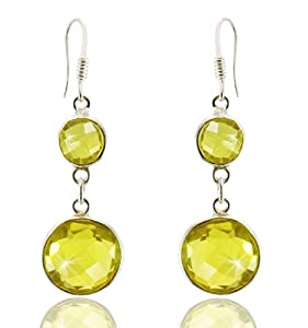 Silver Trendz Citrine Quartz Sterling Silver Bezel Set Double Round Drop Earrings
