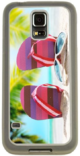Rikki Knighttm Pink Stripes Flip Flops On Sand With Sunglasses On Sunny Beach Palm Trees Design Samsung® Galaxy S5 Case Cover (Clear Rubber With Bumper Protection) For Samsung Galaxy S5 I9600 front-573882