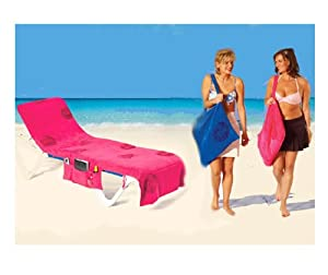 itsa serviette de plage couvre chaise longue avec poches rose cuisine maison. Black Bedroom Furniture Sets. Home Design Ideas