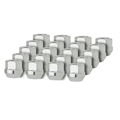 DPAccessories D2126-2308/20 20 Silver 12x1.5 Open End Bulge Acorn Lug Nuts - Cone Seat - 19mm Hex Wheel Lug Nut (Bonneville Wheel Center Caps compare prices)