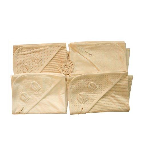 100% Organic Cotton Baby Swaddle Blanket Wrap Bath Hooded Towel _ 4 Set(73cm x 73cm) - 1