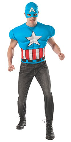 Rubie's Costume Men's Marvel Universe Captain America Muscle Chest T-Shirt/Mask
