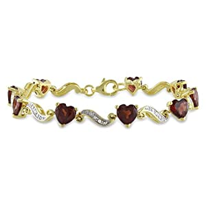 Yellow Gold Plated Sterling Silver Garnet and Diamond Bracelet (0.02 cttw, H-I Color, I2-I3 Clarity), 7