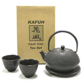 Japanese Cast Iron Pot tea set Black ARR w/ Trivet