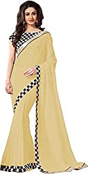 Fableela Women's Chiffon Saree with Blouse Piece (Cream)