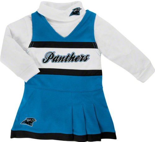 Reebok Carolina Panthers Preschool Girls Panther Blue-White 2-Piece Turtleneck & Cheerleader Dress Set (5/6) at Amazon.com