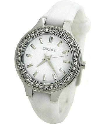 DKNY White Dial White Strap Ladies Watch NY8144