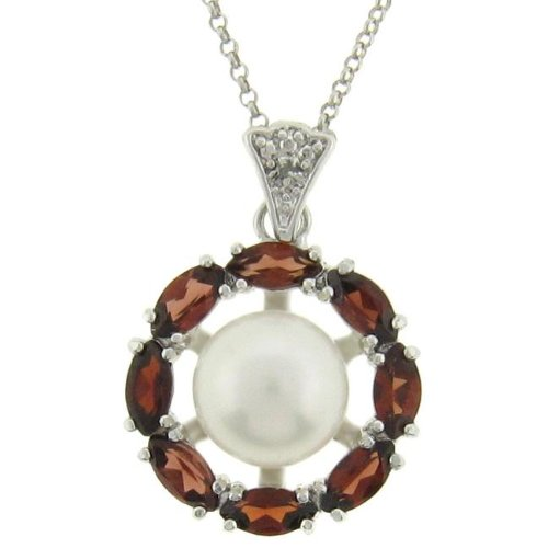 Silver Freshwater Pearl, Garnet and Diamond Accent Necklace (9 mm)
