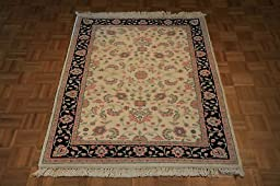 4 x 6 HAND KNOTTED IVORY KASHAN ORIENTAL RUG FROM INDIA G405