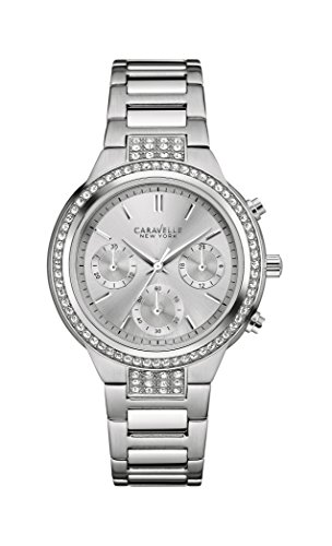 Caravelle New York Silver Boyfriend Women's Quartz Watch with Silver Dial Chronograph Display and Silver Stainless Steel Bracelet 43L186