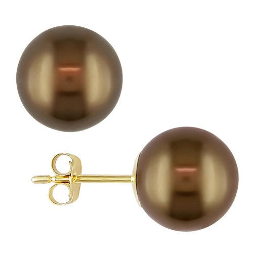 14k Yellow Gold Tahitian Brown Pearl Stud Earrings