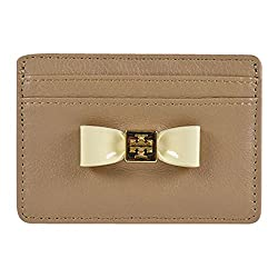 Tory Burch Bow Slim Card Case Clay Beige Bleach