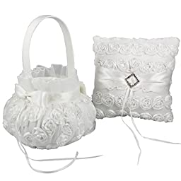 OurWarm Flower Girl Baskets & Ring Pillow Set With Romantic Rose for Wedding Party
