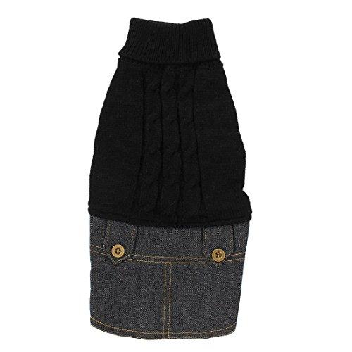 uxcell-Pet-Dog-Winter-Warm-Sweater-Denim-Dress-Jeans-Skirt-Clothes-S-Black