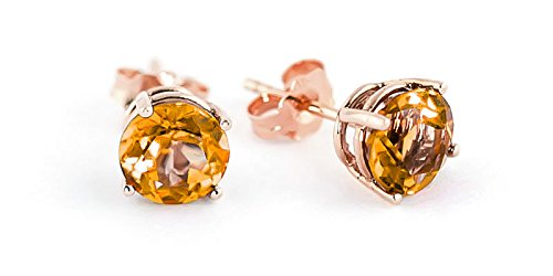 QP Jewellers Natural Citrine Stud Earrings in 9ct Rose Gold, 3.10ct Round Cut - 1849R