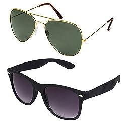 Rhodopsin UV Protected Avaitor Sunglasses (Combo_Black_Wayfarer_Gold_Green_Avaitor)