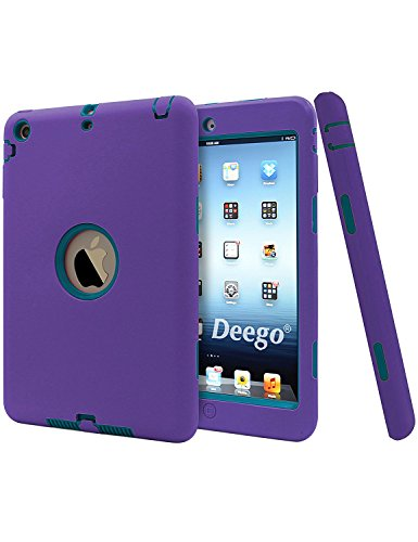 iPad Mini Case, Vogue Shop 2in1 Hybrid Case Cover for iPad Mini 1 2 3 Hard Cover for iPad Mini Printed Design Pc+ Silicone Hybrid High Impact Defender Case Combo Hard Soft Case Cover (Purple+Teal) (Ipad Mini Hard Cover compare prices)