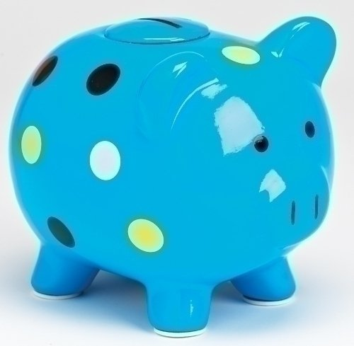 Blue Polka Dot Piggy Bank with Oink Sound Piggy Bank By Sound Investments