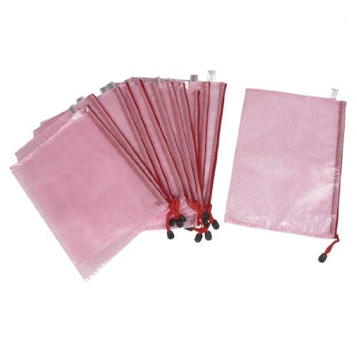 Student Pink A4 Paper Document Zip Up Folders Pockets Bags 12 Pcs