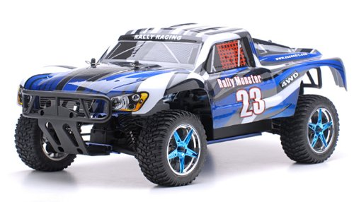1/10 2.4Ghz Exceed RC Rally Monster Nitro Gas Powered RTR Off Road Rally Car 4WD Truck Stripe Blue