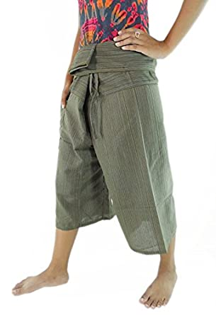 CandyHusky's Ribbed Cotton 3/4 Capri Fisherman Pants Hippie Workout Yoga Pants