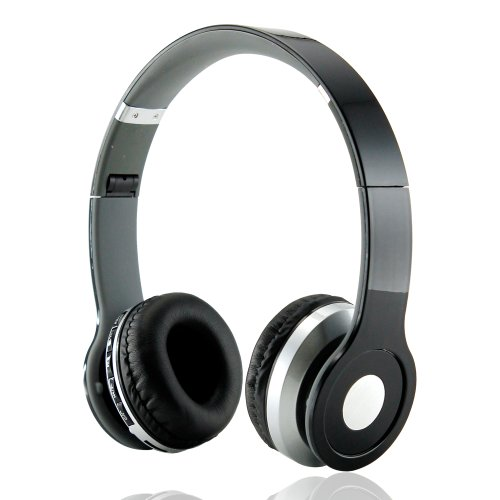 Gearonic Wireless Adjustable Over-Ear Stereo Bluetooth Headphones With Volume And Track Controls For Iphone, Ipod And Mp3 - Non-Retail Packaging - Black