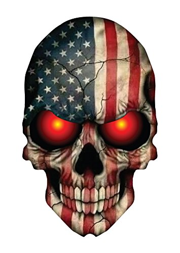 SKULL DECAL WITH AMERICAN FLAG AND GLOWING RED EYES (Skull Family Window Decals compare prices)