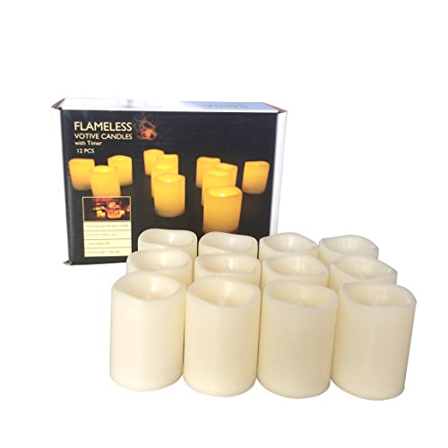 Candle Choice Set of 12 Flameless Candles, Flameless Votive Candles LED Votives with Timer, Battery-operated LED Candles with Timer, Long Battery Life 200+ Hours, Battery Included. (Battery Votive Candles Timer compare prices)