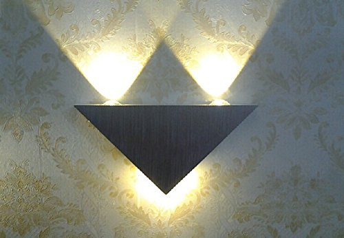 AGPtek® 3W LED Triangle Aluminum Wall Mural Lamp for Hall Porch/Bedroom/ Hotel and Home Corridor (Warm White)