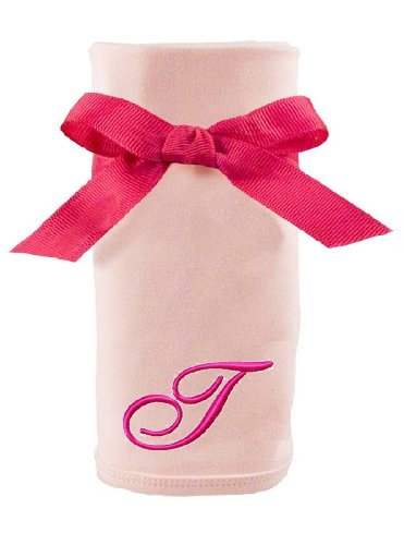 Princess Linens Embroidered Pink Initial Cotton Knit Blanket, T - 1