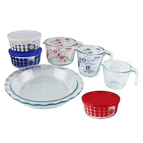 Pyrex 100 Year 10-Piece Centennial Glass Bakeware and Food Storage Set (Pyrex Blue Pie compare prices)