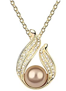 LliVEER Newest Lady Style Bronze Crystal Necklace Beautiful Pearl Element Pendent Chain Fashion Ladylike Jewelry Charming And Shining Jewelry
