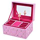 SMONET Musical Jewelry Box Ballerina Girl's Jewel Storage Case Pink for Elise (Color: Pink)