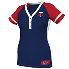 MLB Minnesota Twins Ladies Diamond Diva Fashion Top, Navy Red White by Majestic