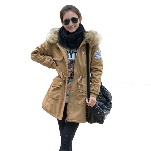 Women Faux Overcoat Hoodie Parka Jacket Thicken Warm Winter Outwear Khaki