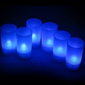 Daffodil LEC006B - 6 Blue LED Tealights - Flameless Candles with Holders - Perfect for Christmas by Daffodil