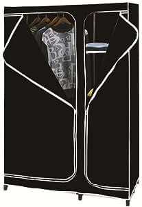 VonHaus Double Canvas effect Wardrobe Clothes Rail Storage in Black
