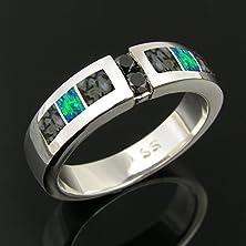 buy Dinosaur Bone Wedding Ring With Black Diamonds Set In Sterling Silver