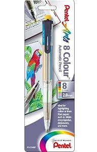 Pentel Arts 8 Colour Automatic Pencil, Assorted Accent Clip Colors, 1 Pack (PH158BP)