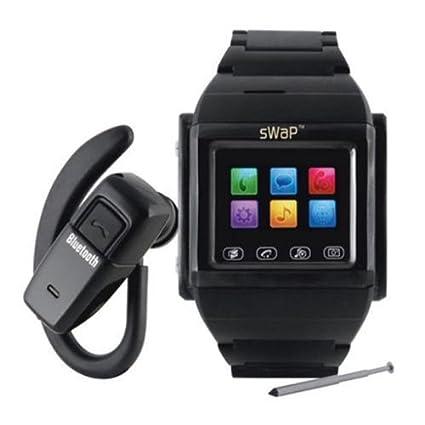 sWaP Classic montre téléphone portable- Bluetooth Quadribande SIM déverrouillée. Avec accès internet, caméra, vidéo, music et photo! - Noire