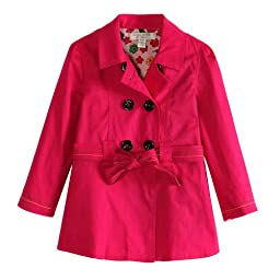Richie House Little Girls\' Colored Trench Coat with Floral Lining Fabric RH0768-6/7-FBA