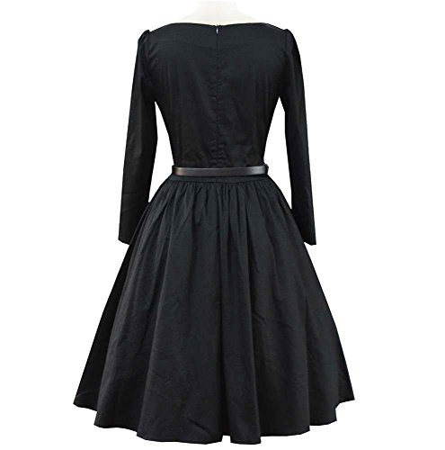 Miss Hollywood Long Sleeve 50s Style Vintage Autumn Party Swing Dress