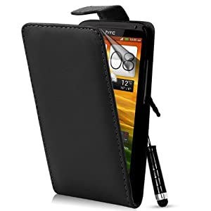 Supergets® HTC One X+ XL One X Black PU Top Flip Leather Case + Screen Protector and Stylus