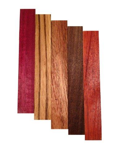 Pen Blank 5 Pack - Purple Heart, Zebrawood, Sapele, Walnut, Padauk (Padauk Wood compare prices)