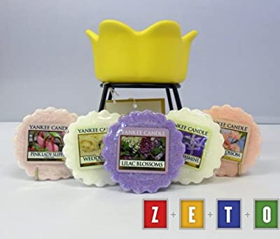 Yankee Candle - 5 Floral Wax Tarts Yellow Petal Bowl Tart Burner Incl 1 X Cherry Blossom 1 X Pink Lady Slipper 1 X Lilac Blossoms 1 X Midnight Jasmine 1 X Wedding Day from Yankee Candle